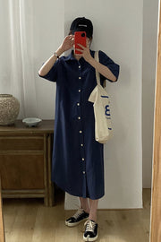 SHORT SLEEVE BUTTON DOWN DRESS ADY - MOMO NEW YORK