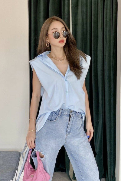 SHOULDER PAD BUTTON DOWN SHIRT STELLA - MOMO NEW YORK