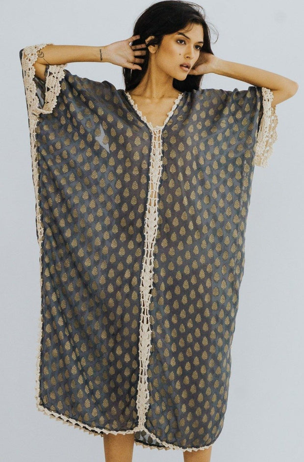 SILK CROCHET EMBROIDERED KAFTAN CAMELLA MOMO NEW YORK