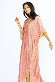 SILK CROCHET KAFTAN DRESS CAMELLA - MOMO NEW YORK