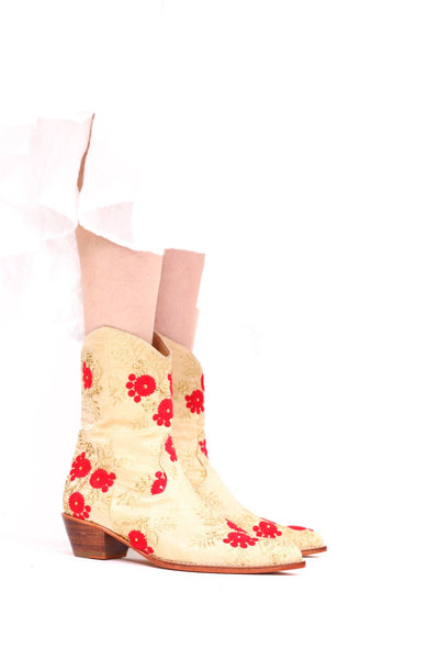 SILK EMBROIDERED BOOTS TENILLE MOMO NEW YORK
