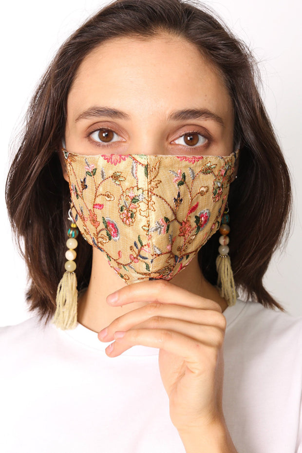 SILK EMBROIDERED FACE MASK DEUN - MOMO NEW YORK
