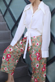 SILK EMBROIDERED FISHERMAN CROP WRAP TROUSERS GIGI - MOMO NEW YORK