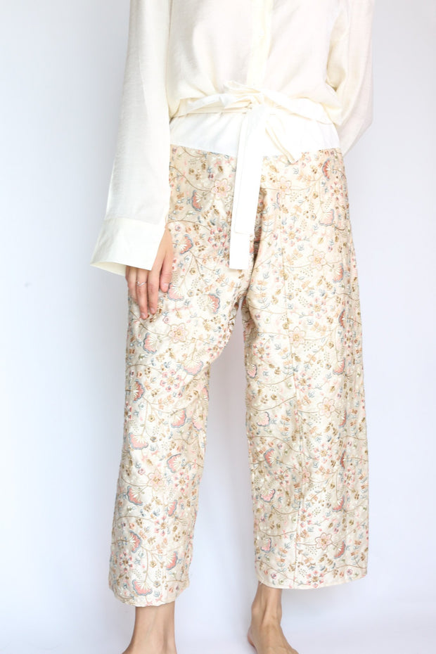 SILK EMBROIDERED FISHERMAN WRAP PANTS BELINDA - MOMO NEW YORK