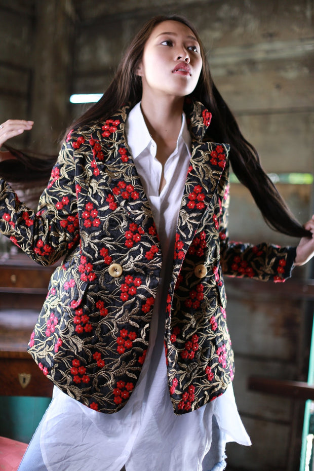 SILK EMBROIDERED JACKET FRIDA (BLACK) MOMO NEW YORK