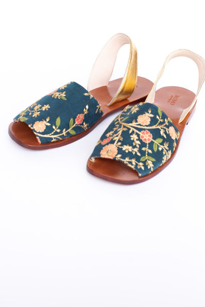 SILK EMBROIDERED TURQUOISE GOLD SANDALS DESSA - MOMO NEW YORK