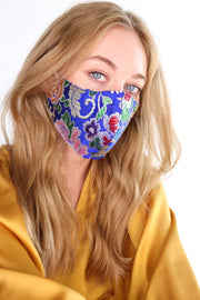 SILK FLOWER PRINTED FACE MASK TIJANA (BLUE) - MOMO NEW YORK