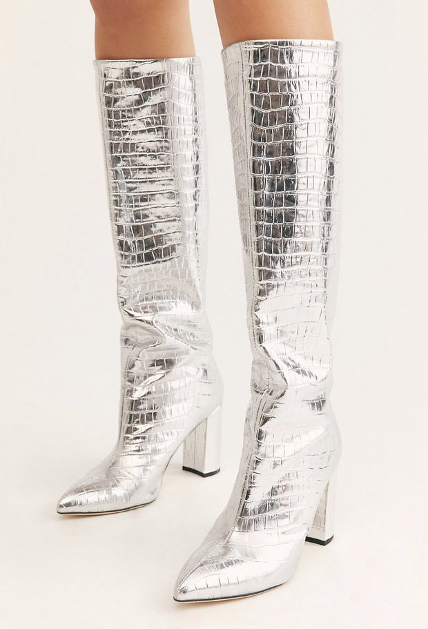 Silver Good Fortunate Tall Boots MOMONEWYORK