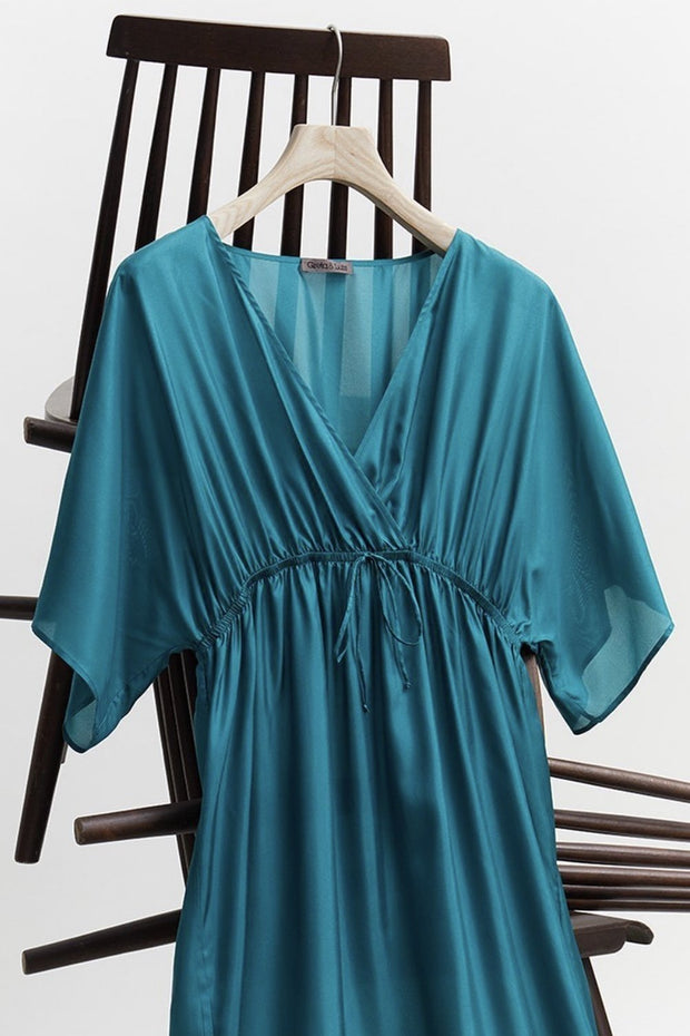SOLID COLOR SILK KAFTAN DRESS MULANDA - MOMO NEW YORK