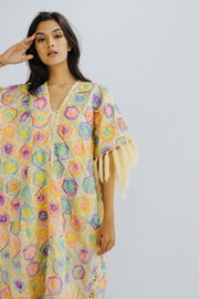 STATEMENT KAFTAN HAND EMBROIDERED SLIK CYPRUS MOMO NEW YORK