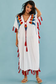 Summer White Beach Kaftan Dress Shiona MOMONEWYORK