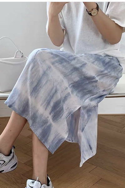 TIE DYE ELASTIC COFFEE HOPPING SKIRT MILKA - MOMO NEW YORK