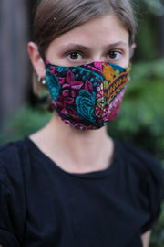 TIE FACE MASK OPERANDI EMBROIDERED PATCHWORK MOMO NEW YORK