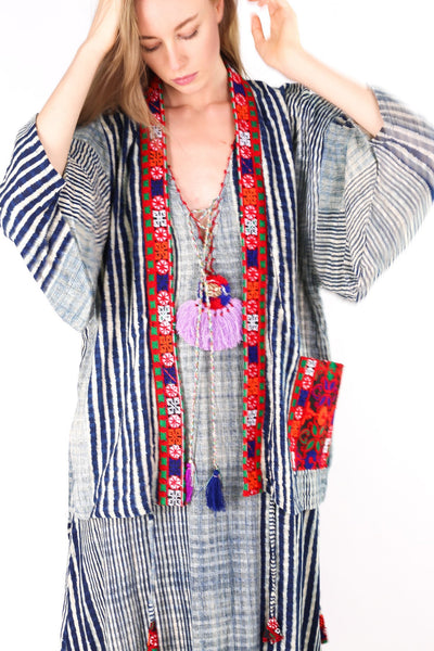 TRIBAL INDIGO KIMONO JACKET RUTH MOMO NEW YORK
