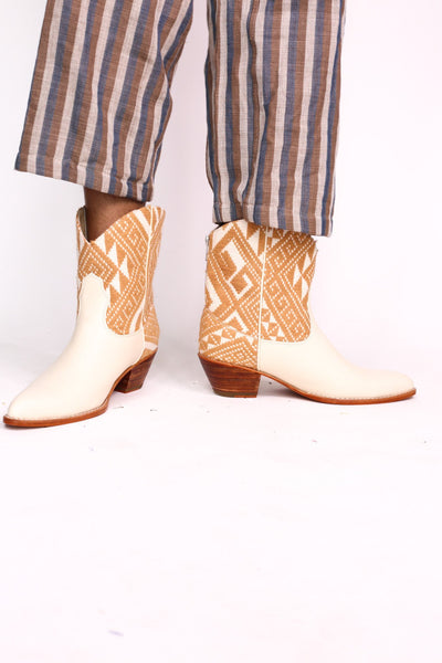 TRIBAL WOVEN LEATHER ANKLE BOOTS IVORY - MOMO NEW YORK