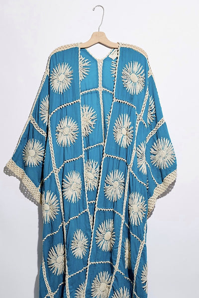 TURQUOISE FLORA CROCHET KIMONO X FREE PEOPLE - MOMO NEW YORK