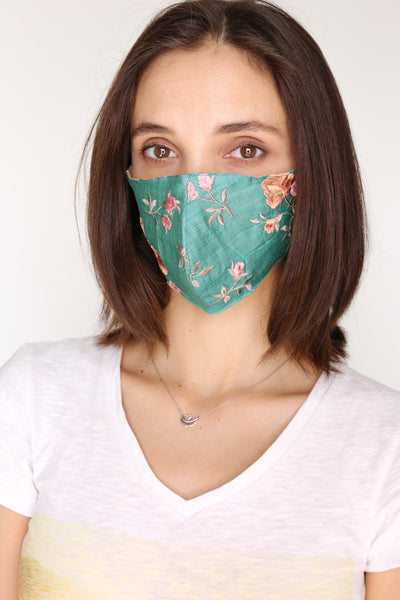 TURQUOISE SILK EMBROIDERED FACE MASK DATU - MOMO NEW YORK