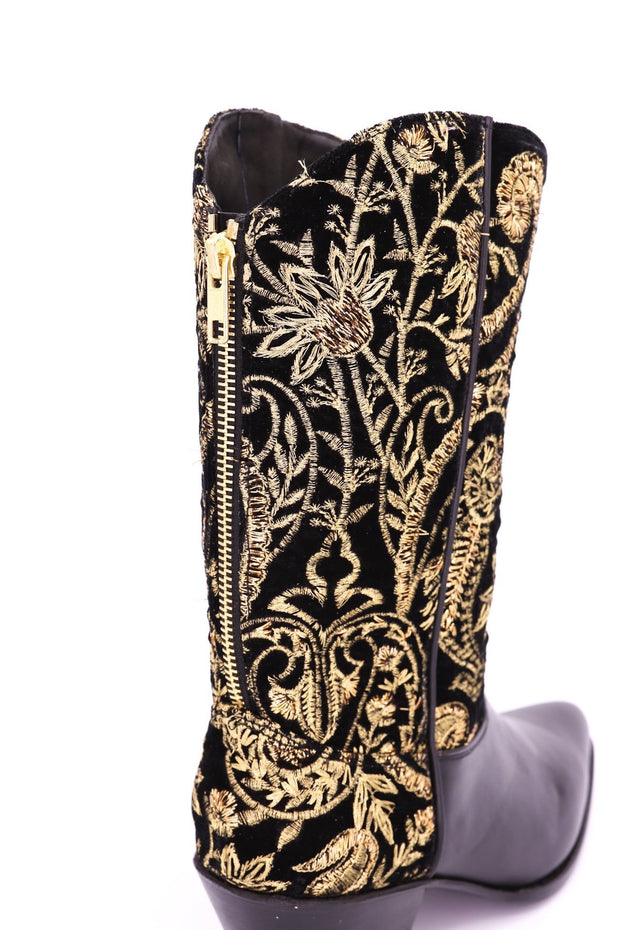 VELVET EMBROIDERED BOOTS HENDRIX - MOMO NEW YORK