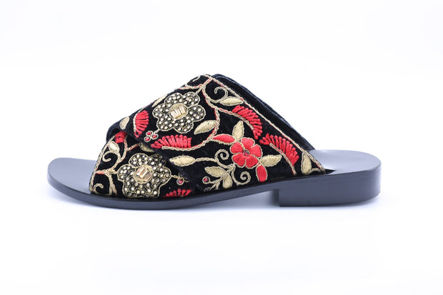 Velvet Embroidered Slippers Claire MOMONEWYORK