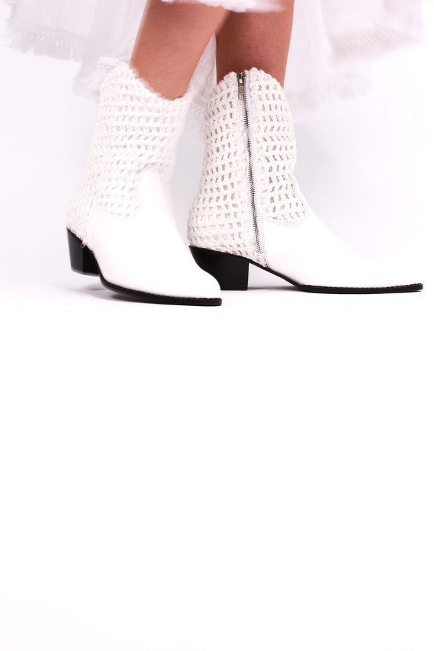 WHITE HAND CROCHET LEATHER ANKLE BOOTS NENNA - MOMO NEW YORK