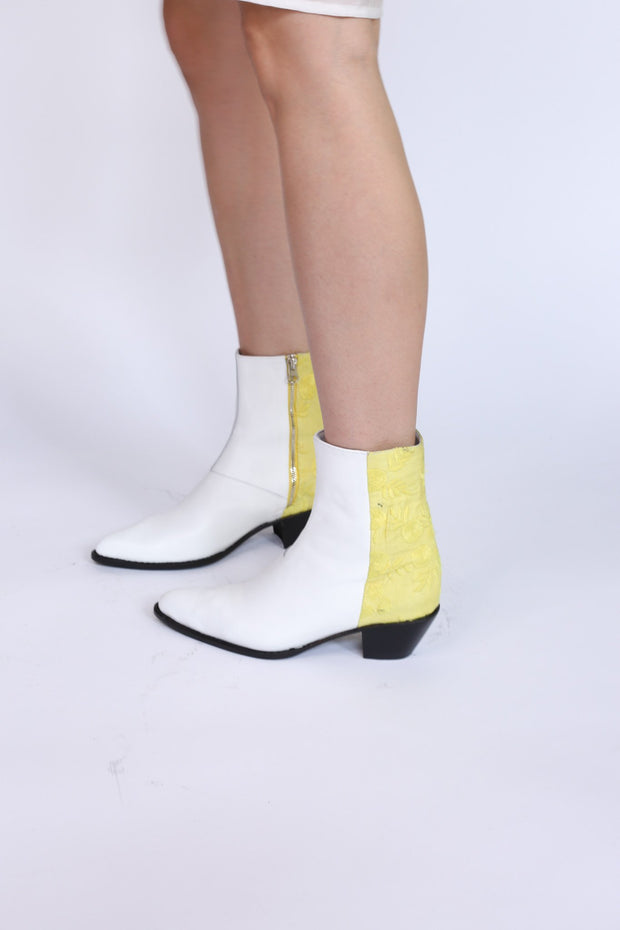 White Leather / Fabric Ankle Boot Agnetha MOMONEWYORK