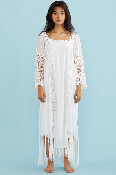 White Maxi Kaftan Dress Hanneli MOMONEWYORK