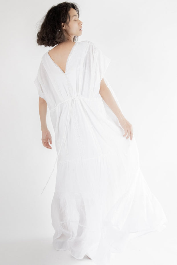 White Muumuu Beach Wedding Dress Winslet MOMONEWYORK