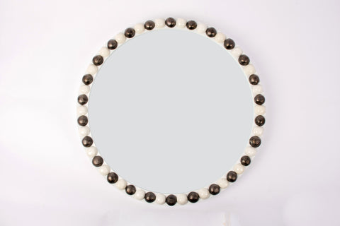 25-Inch Round Irish Mirror in Gloss White with Clear and Matte Bronze Buttons