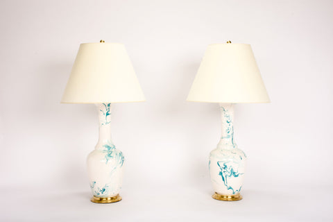 Pair of AP Alex Lamps in Turquoise Marble