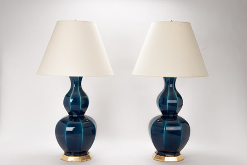 Pair of Alexander Lamps in Prussian Blue