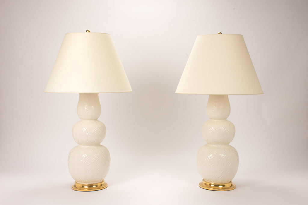 Pair of Allen Lamps with Basket Weave in Clear