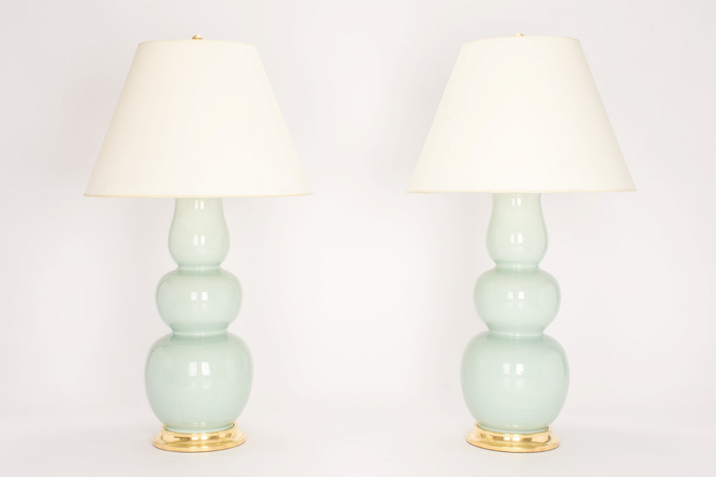 Pair of Allen Lamps in Duck Egg