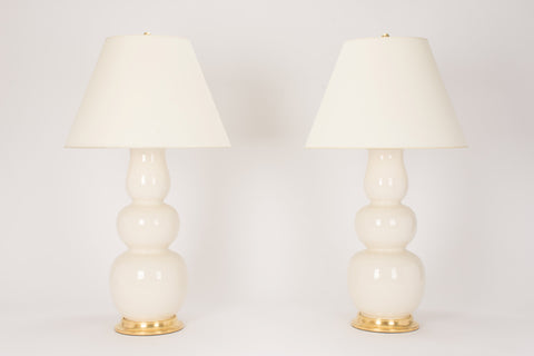 Pair of Allen Lamps in Tea Stain Crackle