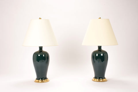Pair of Amy Lamps in Peacock