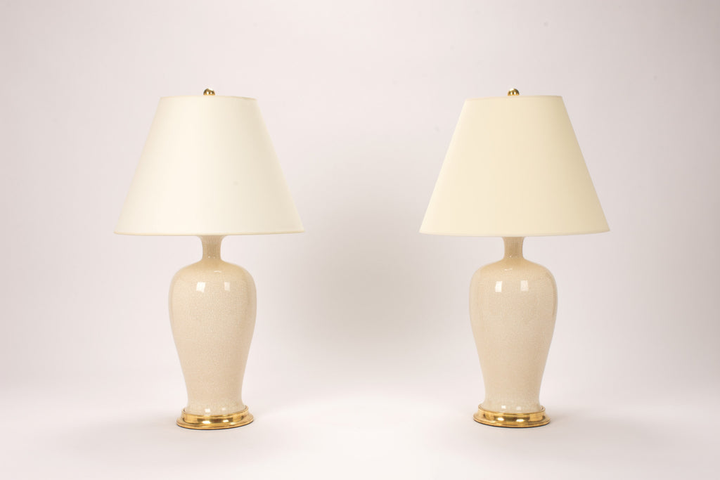 Pair of Amy Lamps in Tea Stain Crackle