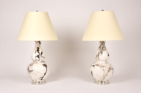 Pair of Aurora Lamps in Brown Marble