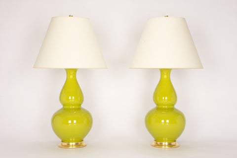 Pair of Aurora Lamps in Chartreuse