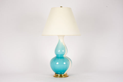 Single Aurora Lamp in Light Blue Crackle Drip