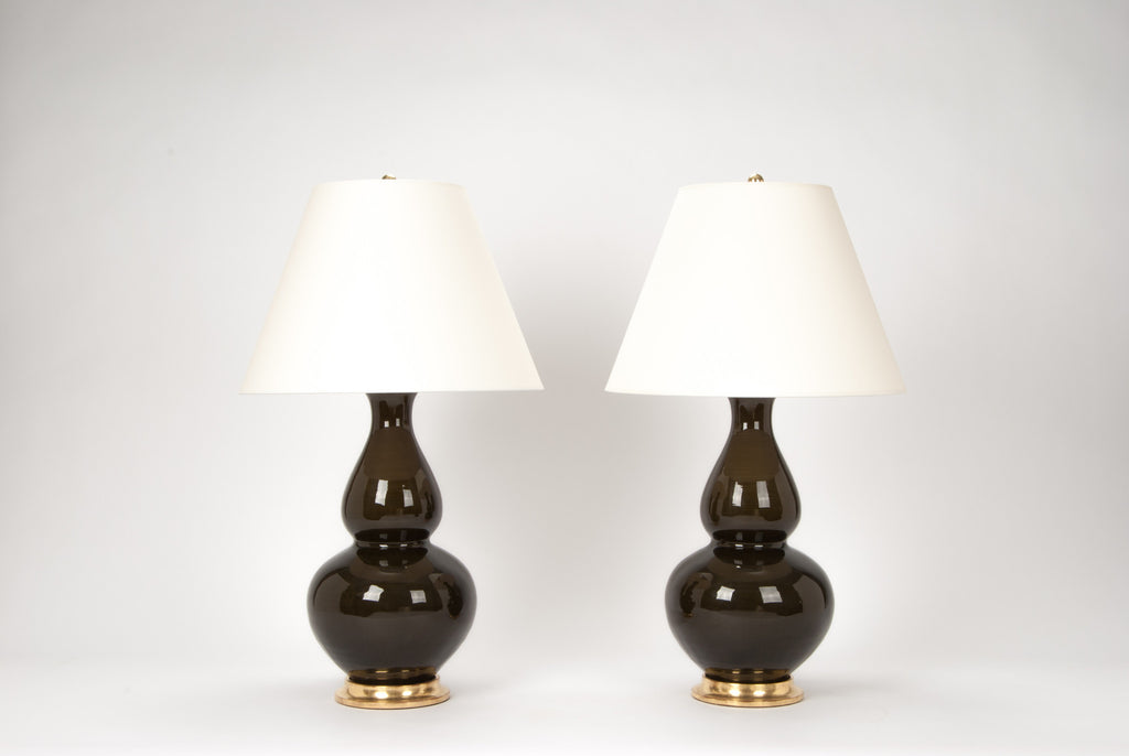 Pair of Aurora Lamps in Olive