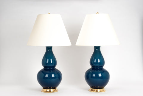 Pair of Aurora Lamps in Prussian Blue