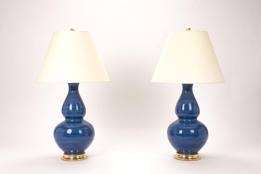 Pair of Aurora Lamps in Sapphire Blue