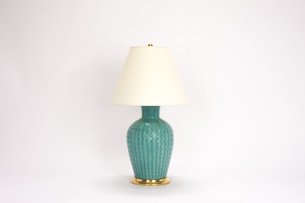 Single Basket Weave Lamp in Aqua