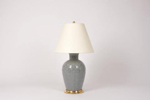 Single Basket Weave Lamp in Blue Grey