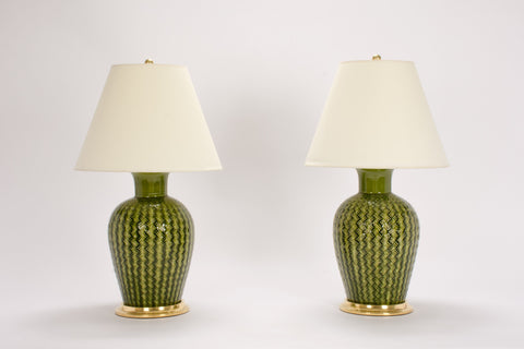 Pair of Basket Weave Lamps in Spruce