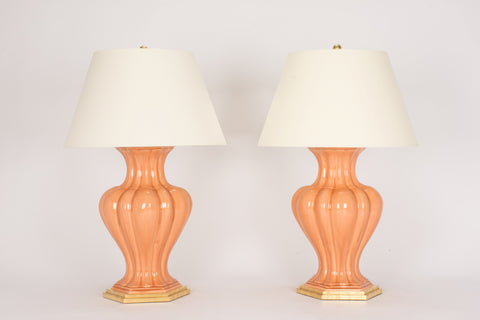 Pair of CM Moss Villa Lamps in Peach