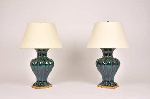 Pair of CM Moss Villa Lamps in Peacock