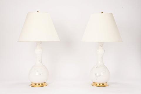 Pair of Cameron Lamps in Heather Grey Marble