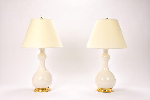 Pair of Cameron Lamps with Loose Basket Weave in Blanc de Chine