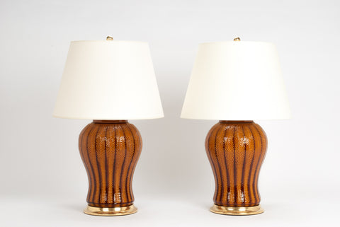 Pair of Chevron Lamps in Amber