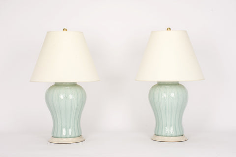 Pair of Chevron Lamps in Duck Egg